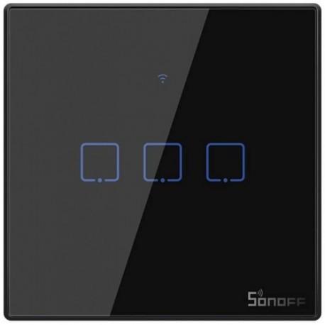Sonoff T3EU3C-TX 3 kanalų sieninis jungiklis-juodas